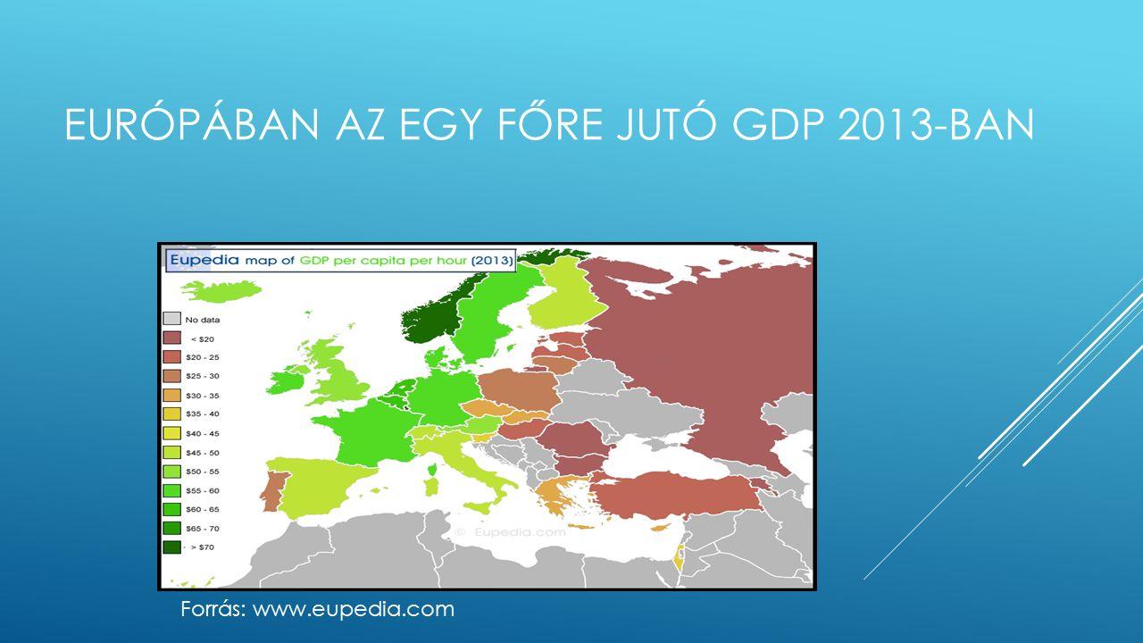 EURÓPÁBAN AZ EGY FŐRE JUTÓ GDP 2013-BAN Forrás: www.eupedia.com