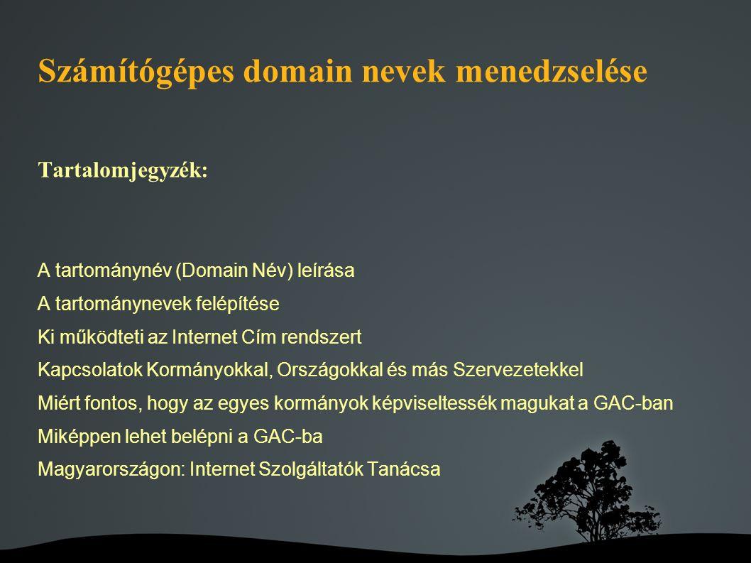 Számítógépes domain nevek menedzselése Tartalomjegyzék: A tartománynév (Domain Név) leírása A tartománynevek felépítése Ki működteti az Internet Cím rendszert Kapcsolatok Kormányokkal, Országokkal és más Szervezetekkel Miért fontos, hogy az egyes kormányok képviseltessék magukat a GAC-ban Miképpen lehet belépni a GAC-ba Magyarországon: Internet Szolgáltatók Tanácsa