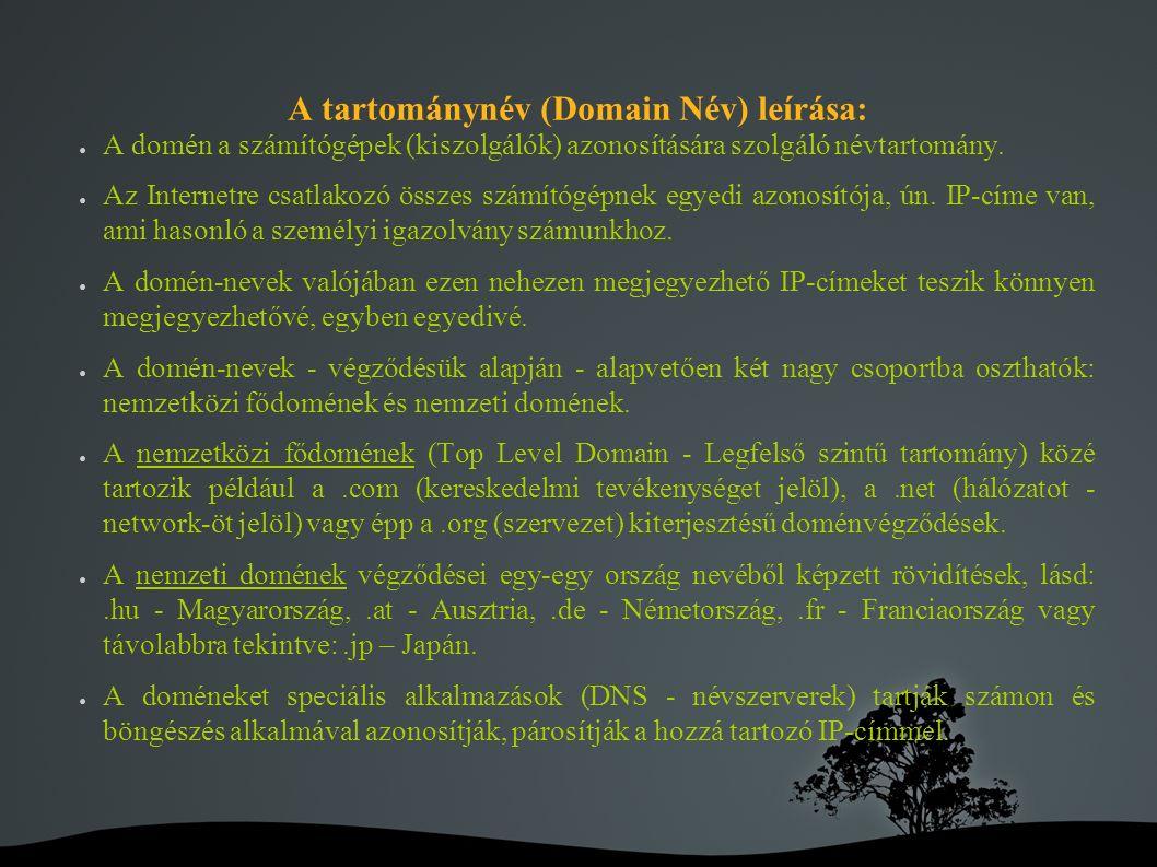A tartománynév (Domain Név) leírása: ● A domén a számítógépek (kiszolgálók) azonosítására szolgáló névtartomány.