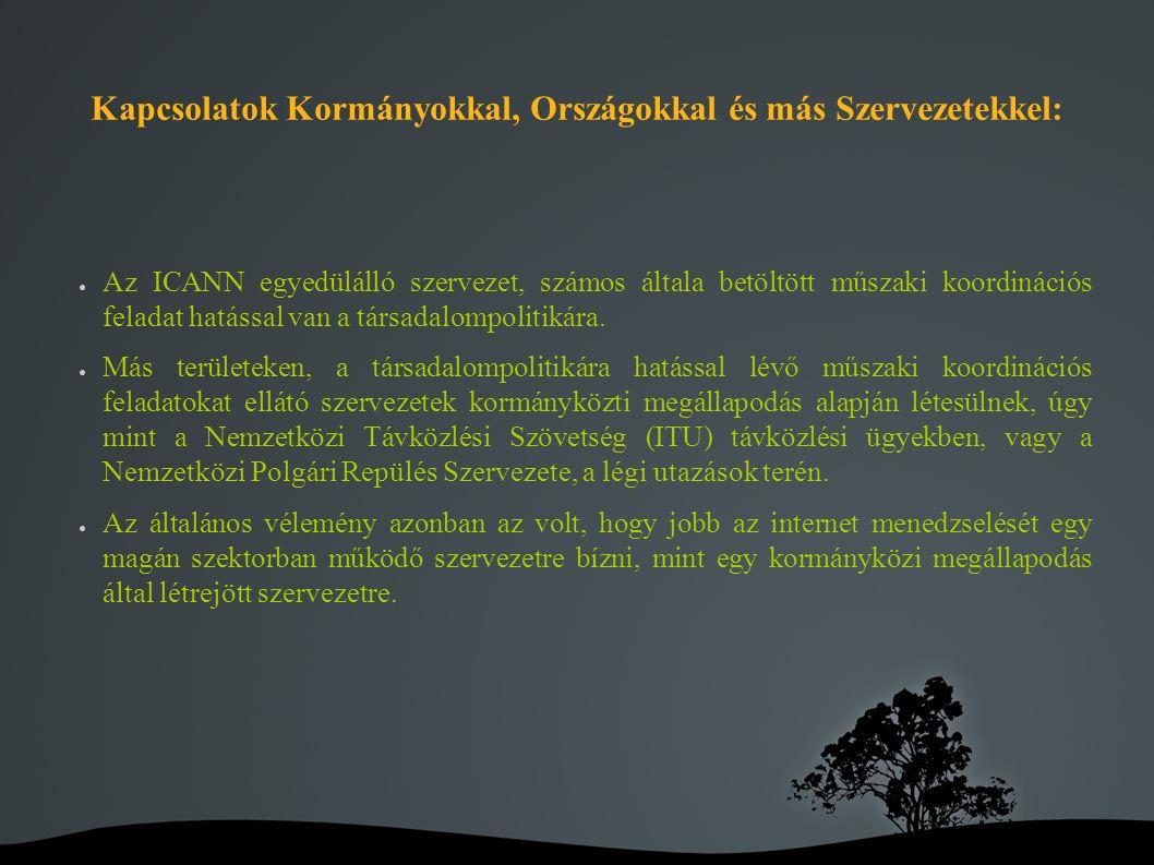 Kapcsolatok Kormányokkal, Országokkal és más Szervezetekkel: ● Az ICANN egyedülálló szervezet, számos általa betöltött műszaki koordinációs feladat hatással van a társadalompolitikára.
