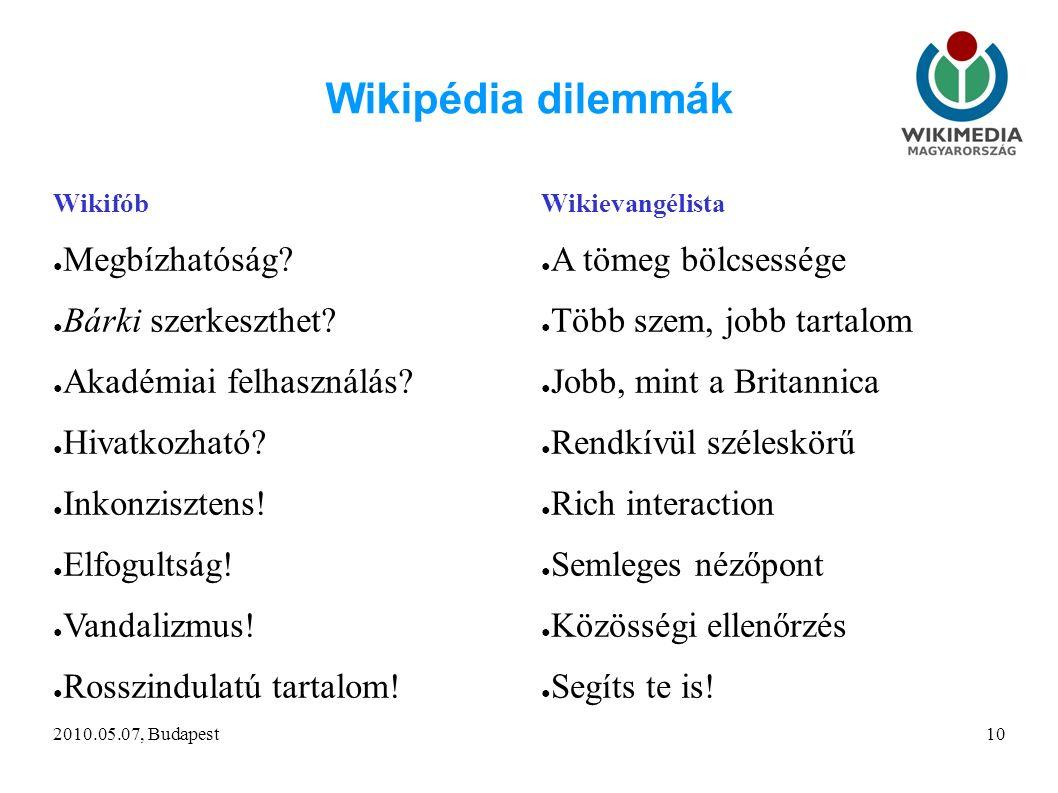 2010.05.07, Budapest10 Wikipédia dilemmák Wikifób ● Megbízhatóság.