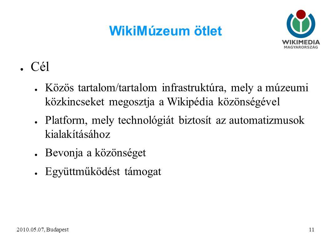 2010.05.07, Budapest11 WikiMúzeum ötlet ● Cél ● Közös tartalom/tartalom infrastruktúra, mely a múzeumi közkincseket megosztja a Wikipédia közönségével ● Platform, mely technológiát biztosít az automatizmusok kialakításához ● Bevonja a közönséget ● Együttműködést támogat