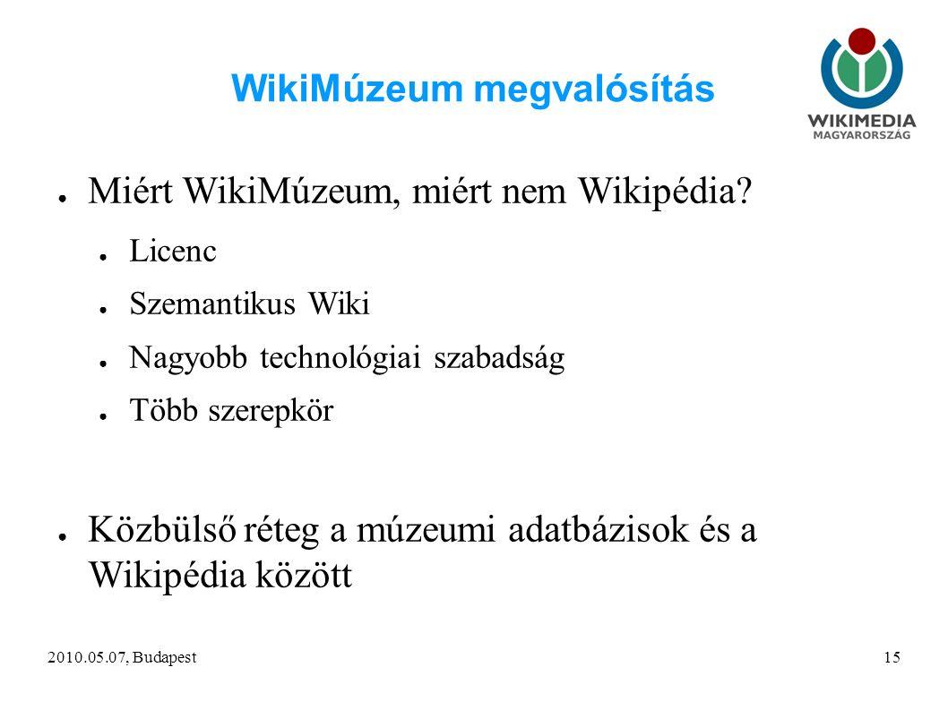 2010.05.07, Budapest15 WikiMúzeum megvalósítás ● Miért WikiMúzeum, miért nem Wikipédia.
