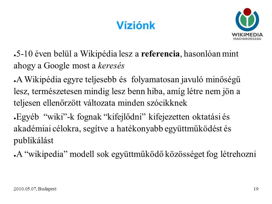 2010.05.07, Budapest19 Víziónk ● 5-10 éven belül a Wikipédia lesz a referencia, hasonlóan mint ahogy a Google most a keresés ● A Wikipédia egyre teljesebb és folyamatosan javuló minőségű lesz, természetesen mindig lesz benn hiba, amíg létre nem jön a teljesen ellenőrzött változata minden szócikknek ● Egyéb wiki -k fognak kifejlődni kifejezetten oktatási és akadémiai célokra, segítve a hatékonyabb együttműködést és publikálást ● A wikipedia modell sok együttműködő közösséget fog létrehozni