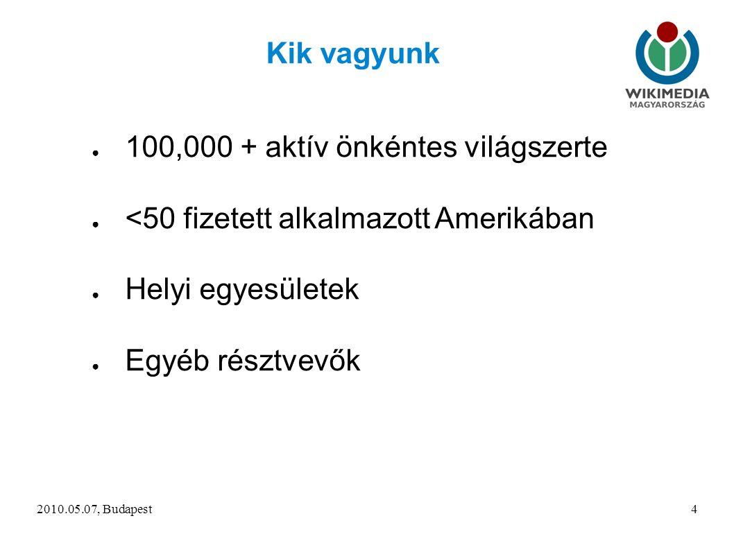 2010.05.07, Budapest4 Kik vagyunk ● 100,000 + aktív önkéntes világszerte ● <50 fizetett alkalmazott Amerikában ● Helyi egyesületek ● Egyéb résztvevők