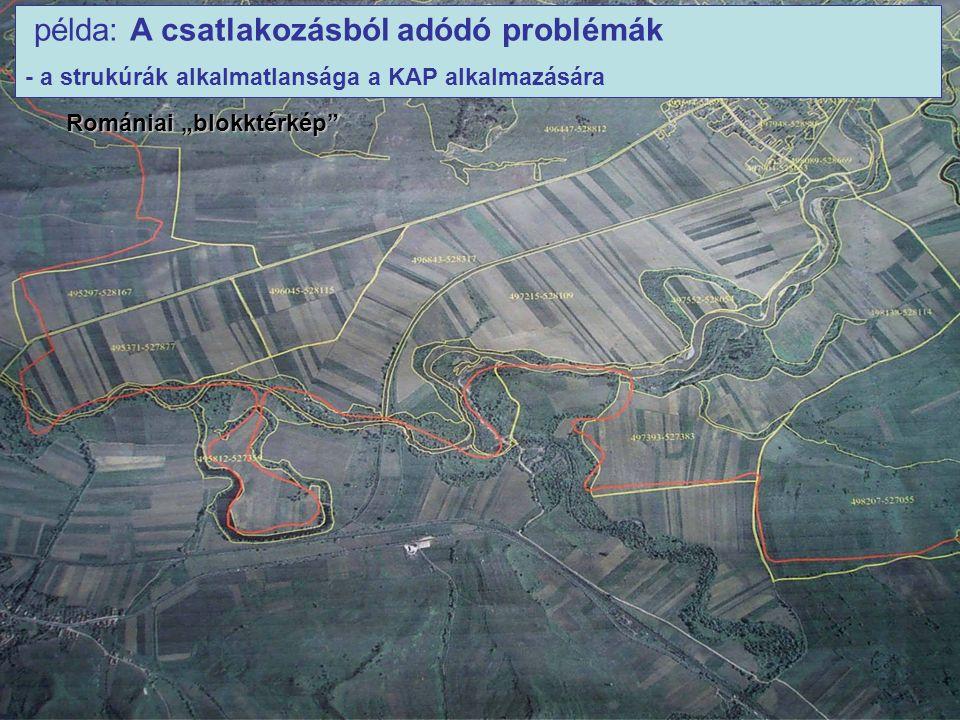 """példa: A csatlakozásból adódó problémák - a strukúrák alkalmatlansága a KAP alkalmazására Romániai """"blokktérkép"""