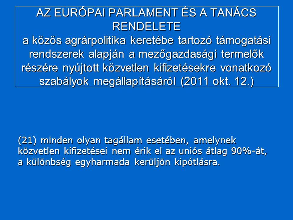 AZ EURÓPAI PARLAMENT ÉS A TANÁCS RENDELETE a közös agrárpolitika keretébe tartozó támogatási rendszerek alapján a mezőgazdasági termelők részére nyújtott közvetlen kifizetésekre vonatkozó szabályok megállapításáról (2011 okt.