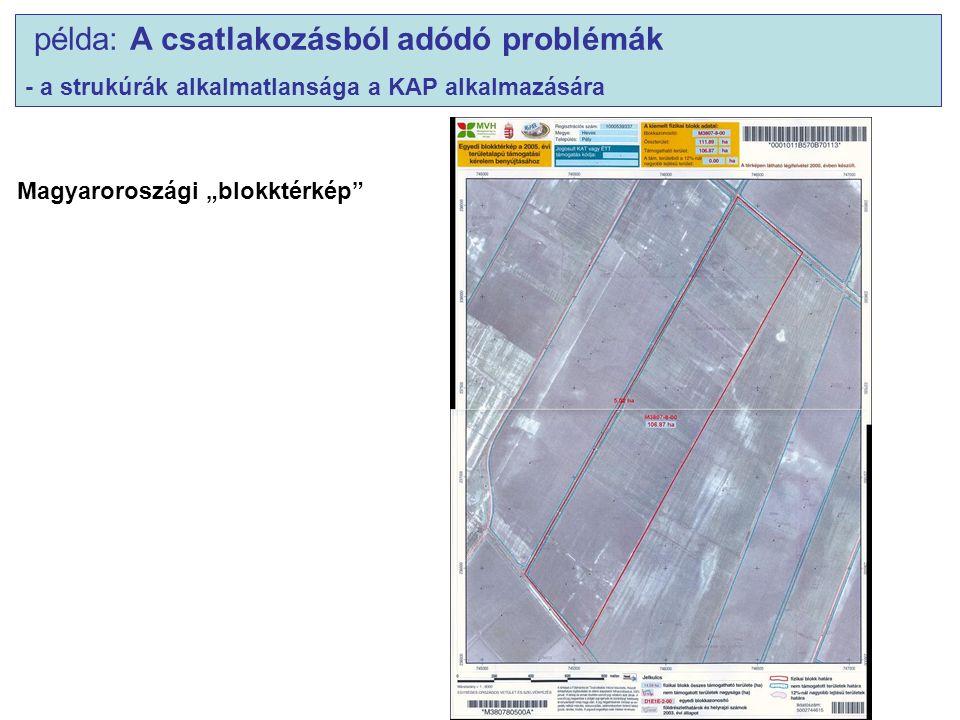 """példa: A csatlakozásból adódó problémák - a strukúrák alkalmatlansága a KAP alkalmazására Magyaroroszági """"blokktérkép"""