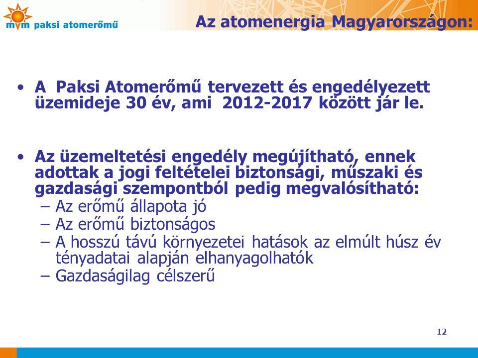 12 Az atomenergia Magyarországon: A Paksi Atomerőmű tervezett és engedélyezett üzemideje 30 év, ami 2012-2017 között jár le. Az üzemeltetési engedély
