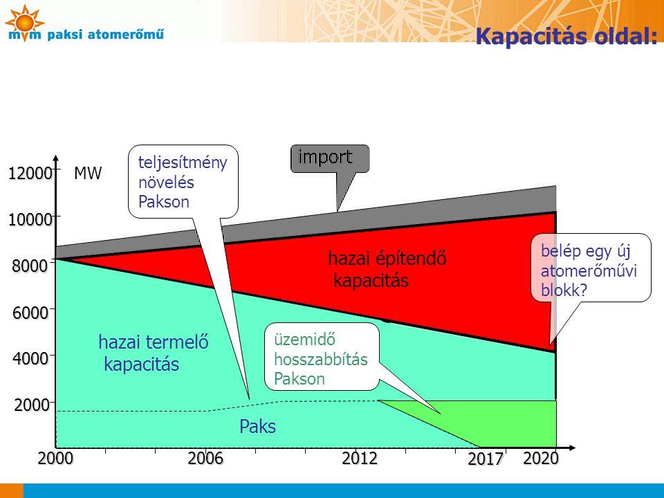 import 2000 4000 6000 8000 10000 12000 12000MW 2000200620122020 2017 hazai építendő kapacitás hazai termelő kapacitás Paks teljesítmény növelés Pakson üzemidő hosszabbítás Pakson belép egy új atomerőművi blokk.