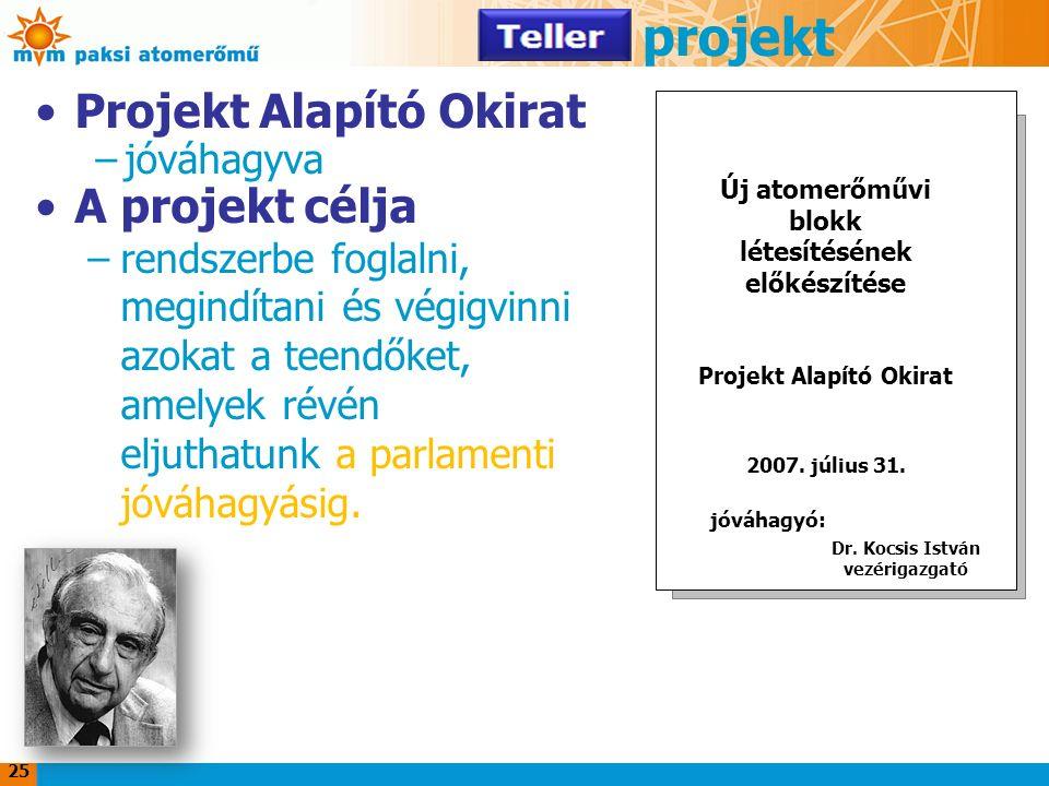 25 Teller projekt Projekt Alapító Okirat –jóváhagyva A projekt célja –rendszerbe foglalni, megindítani és végigvinni azokat a teendőket, amelyek révén eljuthatunk a parlamenti jóváhagyásig.
