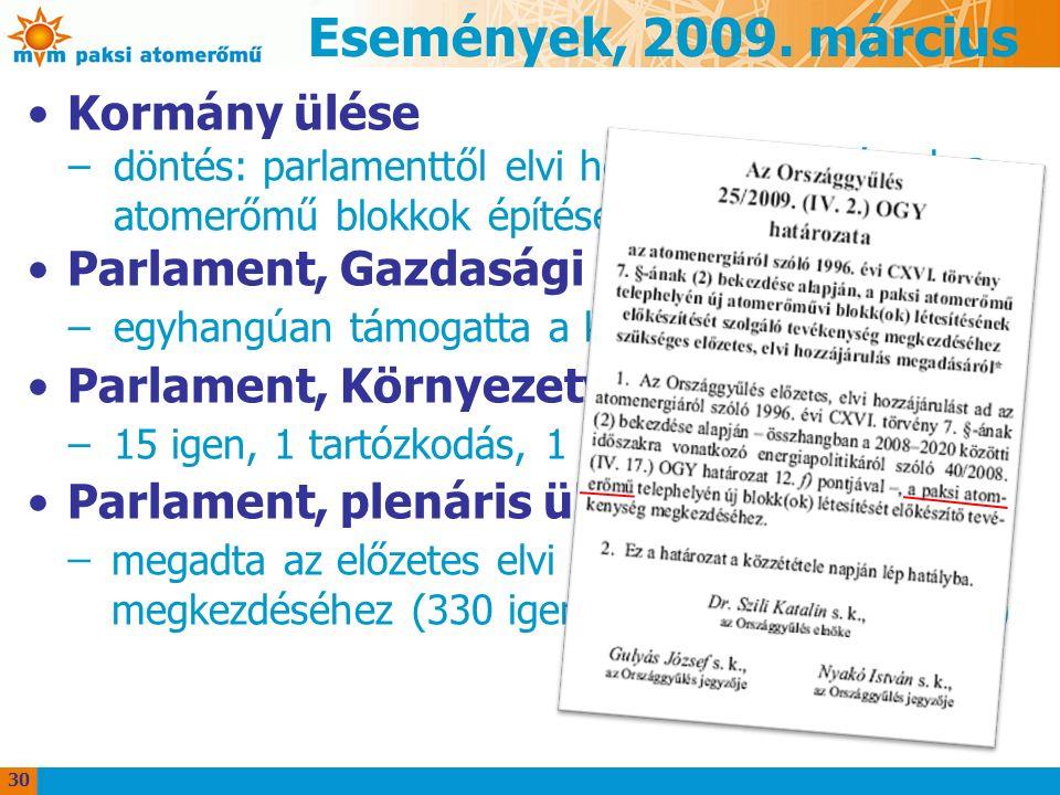 Események, 2009. március Kormány ülése –döntés: parlamenttől elvi hozzájárulást kérnek a atomerőmű blokkok építéséhez Parlament, Gazdasági Bizottság –