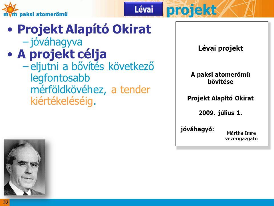 32 Lévai projekt Projekt Alapító Okirat –jóváhagyva A projekt célja –eljutni a bővítés következő legfontosabb mérföldkövéhez, a tender kiértékeléséig.