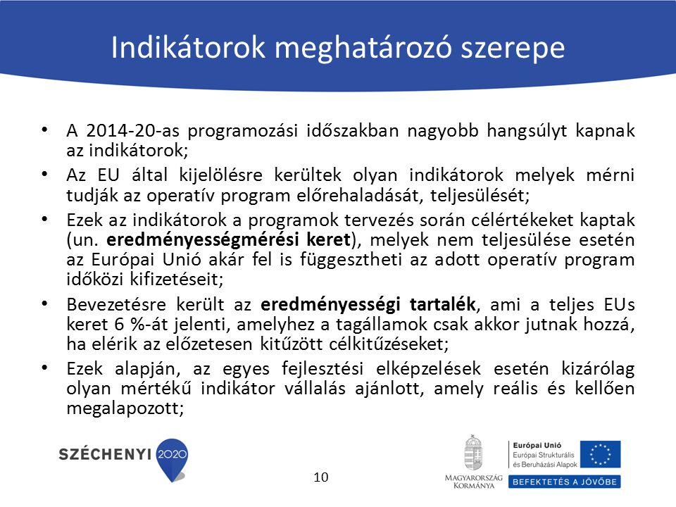 Indikátorok meghatározó szerepe A 2014-20-as programozási időszakban nagyobb hangsúlyt kapnak az indikátorok; Az EU által kijelölésre kerültek olyan indikátorok melyek mérni tudják az operatív program előrehaladását, teljesülését; Ezek az indikátorok a programok tervezés során célértékeket kaptak (un.