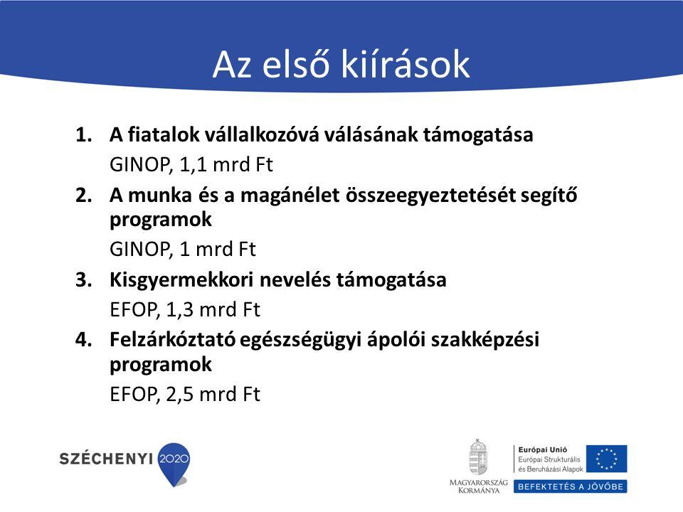 Az első kiírások 1.A fiatalok vállalkozóvá válásának támogatása GINOP, 1,1 mrd Ft 2.A munka és a magánélet összeegyeztetését segítő programok GINOP, 1 mrd Ft 3.Kisgyermekkori nevelés támogatása EFOP, 1,3 mrd Ft 4.Felzárkóztató egészségügyi ápolói szakképzési programok EFOP, 2,5 mrd Ft