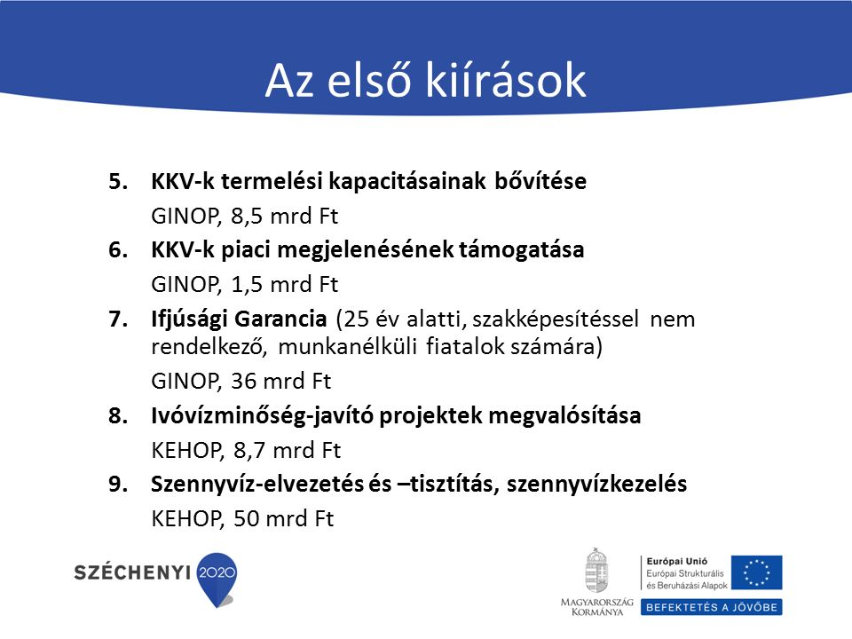 Az első kiírások 5.KKV-k termelési kapacitásainak bővítése GINOP, 8,5 mrd Ft 6.KKV-k piaci megjelenésének támogatása GINOP, 1,5 mrd Ft 7.Ifjúsági Garancia (25 év alatti, szakképesítéssel nem rendelkező, munkanélküli fiatalok számára) GINOP, 36 mrd Ft 8.Ivóvízminőség-javító projektek megvalósítása KEHOP, 8,7 mrd Ft 9.Szennyvíz-elvezetés és –tisztítás, szennyvízkezelés KEHOP, 50 mrd Ft