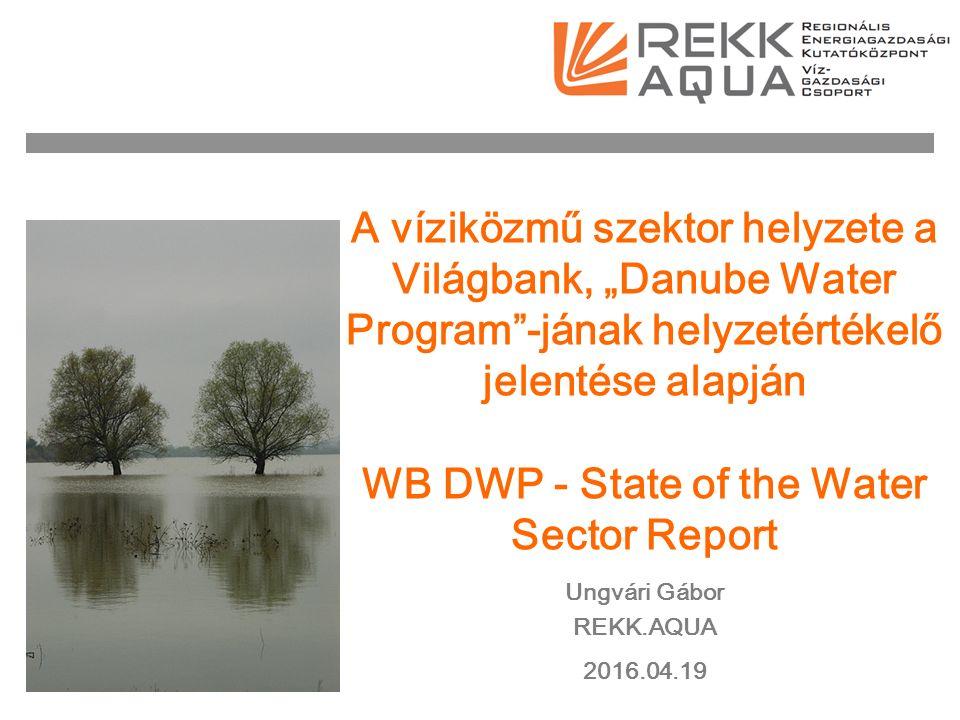 """A víziközmű szektor helyzete a Világbank, """"Danube Water Program -jának helyzetértékelő jelentése alapján WB DWP - State of the Water Sector Report Ungvári Gábor REKK.AQUA 2016.04.19"""