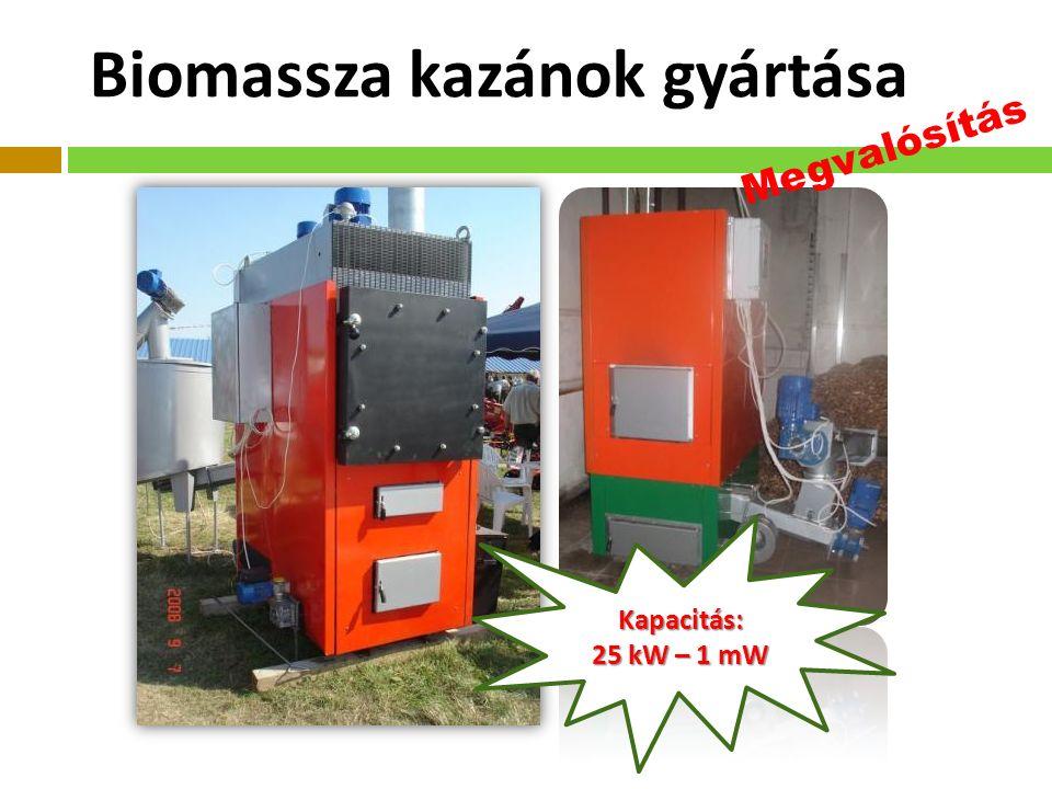 Kapacitás: 25 kW – 1 mW Biomassza kazánok gyártása Megvalósítás