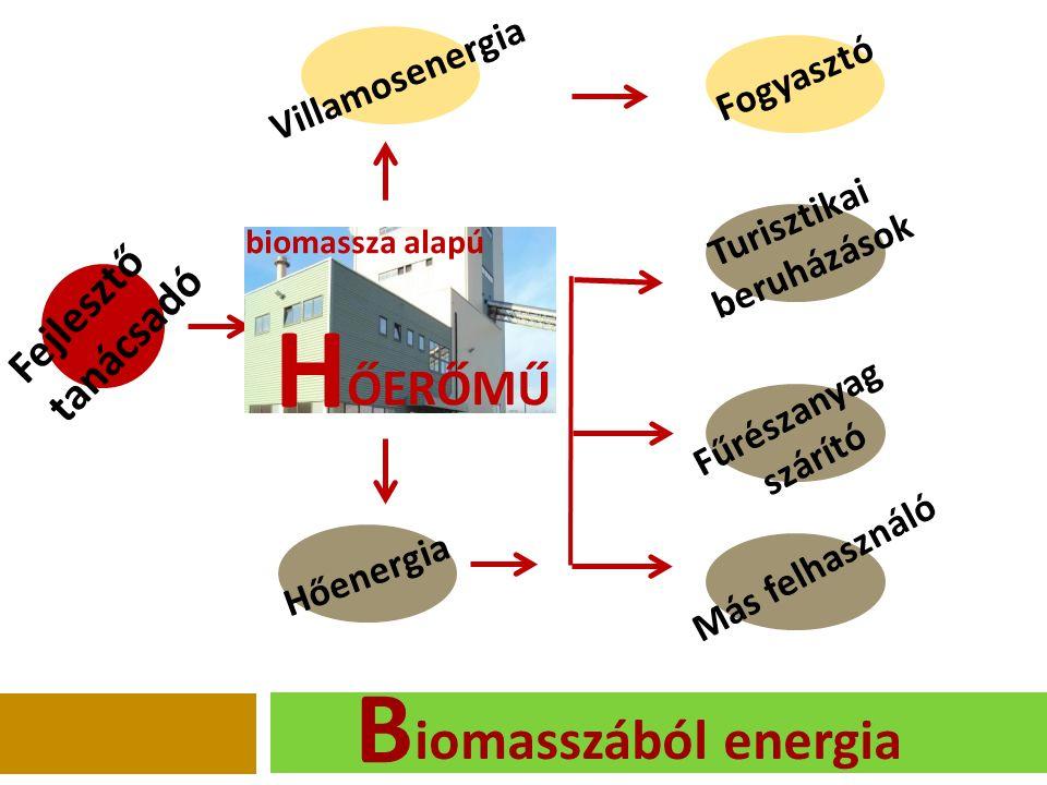Fejlesztő tanácsadó Villamosenergia Fogyasztó Turisztikai beruházások Hőenergia Fűrészanyag szárító Más felhasználó iomasszából energia ŐERŐMŰ H biomassza alapú B