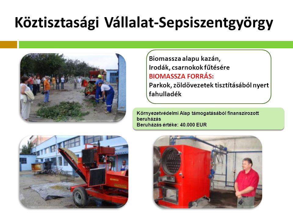 Köztisztasági Vállalat-Sepsiszentgyörgy Biomassza alapu kazán, Irodák, csarnokok fűtésére BIOMASSZA FORRÁS: Parkok, zöldövezetek tisztításából nyert fahulladék Környezetvédelmi Alap támogatásából finanszírozott beruházás Beruházás értéke: 40.000 EUR Környezetvédelmi Alap támogatásából finanszírozott beruházás Beruházás értéke: 40.000 EUR
