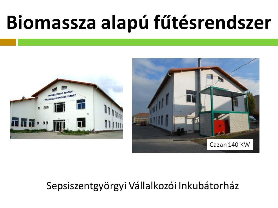 Biomassza alapú fűtésrendszer Sepsiszentgyörgyi Vállalkozói Inkubátorház Cazan 140 KW