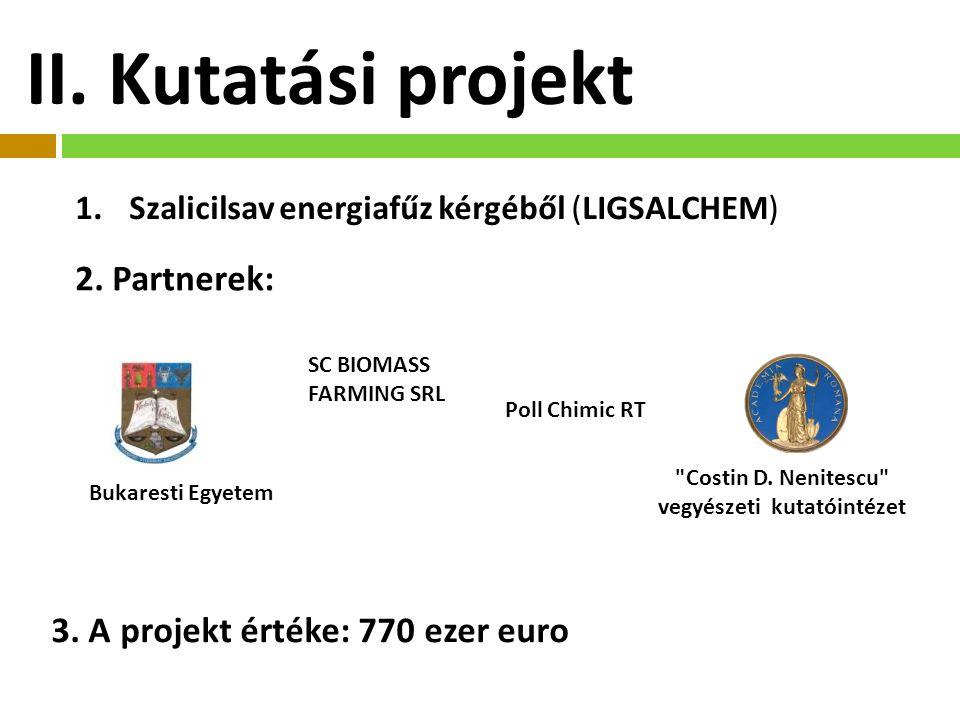 II.Kutatási projekt 1.Szalicilsav energiafűz kérgéből (LIGSALCHEM) 2.