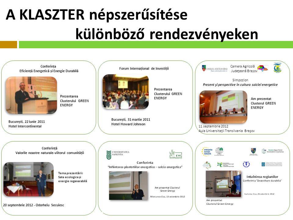 Conferința Eficienț ă Energetic ă și Energie Durabil ă București, 22 iunie 2011 Hotel Intercontinental Prezentarea Clusterului GREEN ENERGY Forum Internațional de Investiții Prezentarea Clusterului GREEN ENERGY București, 31 martie 2011 Hotel Howard Johnson Camera Agricolă Judeţeană Brașov Simpozion Prezent şi perspective in cultura salciei energetice Am prezentat Clusterul GREEN ENERGY 11 septembrie 2012 Aula Universitaţii Transilvania Braşov Conferinț ă Valorile noastre naturale-viitorul comunit ă ții Tema prezent ă rii: Sate ecologice și energie regenerabil ă 20 septembrie 2012 - Odorheiu Secuiesc A KLASZTER népszerűsítése különböző rendezvényeken