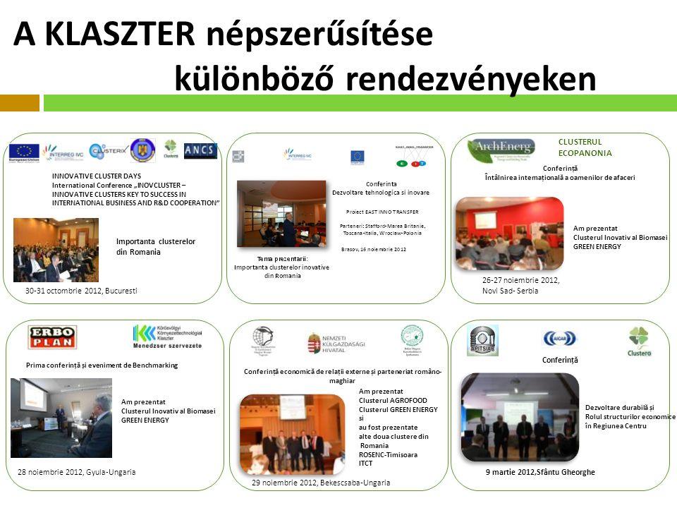 """A KLASZTER népszerűsítése különböző rendezvényeken INNOVATIVE CLUSTER DAYS International Conference """"INOVCLUSTER – INNOVATIVE CLUSTERS KEY TO SUCCESS IN INTERNATIONAL BUSINESS AND R&D COOPERATION Importanta clusterelor din Romania 30-31 octombrie 2012, Bucuresti CLUSTERUL ECOPANONIA Conferinț ă Întâlnirea internațional ă a oamenilor de afaceri Am prezentat Clusterul Inovativ al Biomasei GREEN ENERGY 26-27 noiembrie 2012, Novi Sad- Serbia Prima conferinț ă și eveniment de Benchmarking Am prezentat Clusterul Inovativ al Biomasei GREEN ENERGY 28 noiembrie 2012, Gyula-Ungaria Conferinț ă economic ă de relații externe și parteneriat româno- maghiar Am prezentat Clusterul AGROFOOD Clusterul GREEN ENERGY si au fost prezentate alte doua clustere din Romania ROSENC-Timisoara ITCT 29 noiembrie 2012, Bekescsaba-Ungaria Dezvoltare durabil ă și Rolul structurilor economice în Regiunea Centru Conferinț ă 9 martie 2012,Sfântu Gheorghe"""