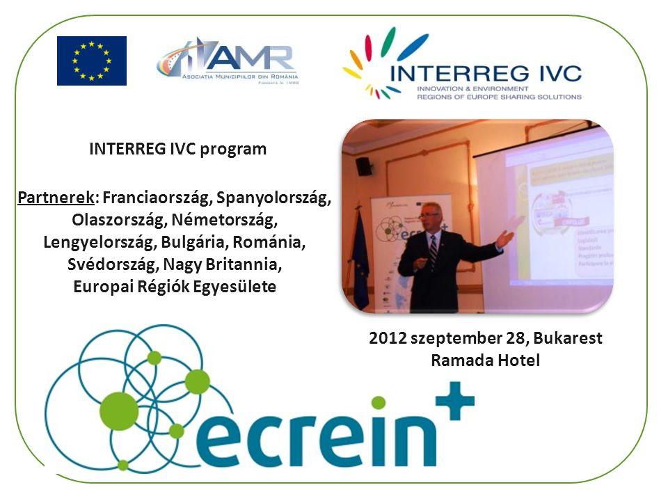 INTERREG IVC program Partnerek: Franciaország, Spanyolország, Olaszország, Németország, Lengyelország, Bulgária, Románia, Svédország, Nagy Britannia, Europai Régiók Egyesülete 2012 szeptember 28, Bukarest Ramada Hotel