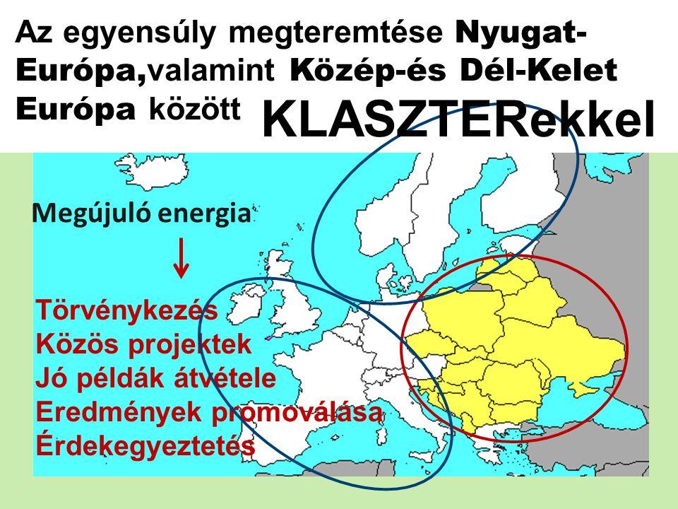 Törvénykezés Közös projektek Jó példák átvétele Eredmények promoválása Érdekegyeztetés Az egyensúly megteremtése Nyugat- Európa, valamint Közép-és Dél-Kelet Európa között KLASZTERekkel Megújuló energia