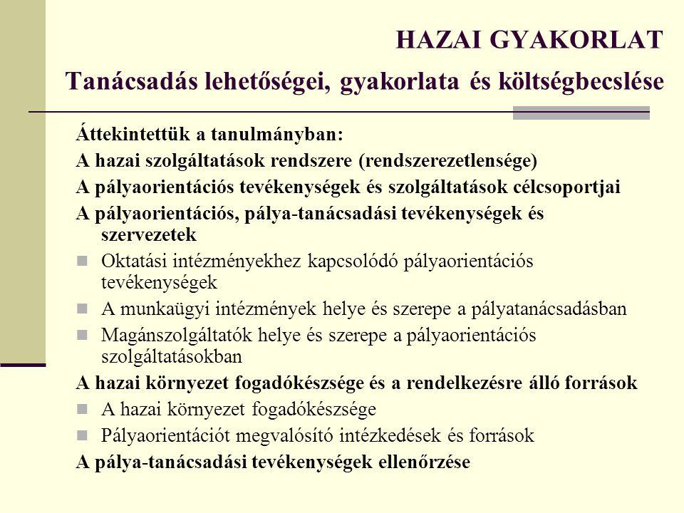 HAZAI GYAKORLAT Tanácsadás lehetőségei, gyakorlata és költségbecslése Áttekintettük a tanulmányban: A hazai szolgáltatások rendszere (rendszerezetlens