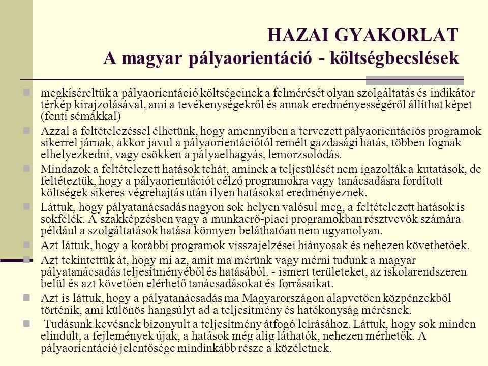 HAZAI GYAKORLAT A magyar pályaorientáció - költségbecslések megkíséreltük a pályaorientáció költségeinek a felmérését olyan szolgáltatás és indikátor