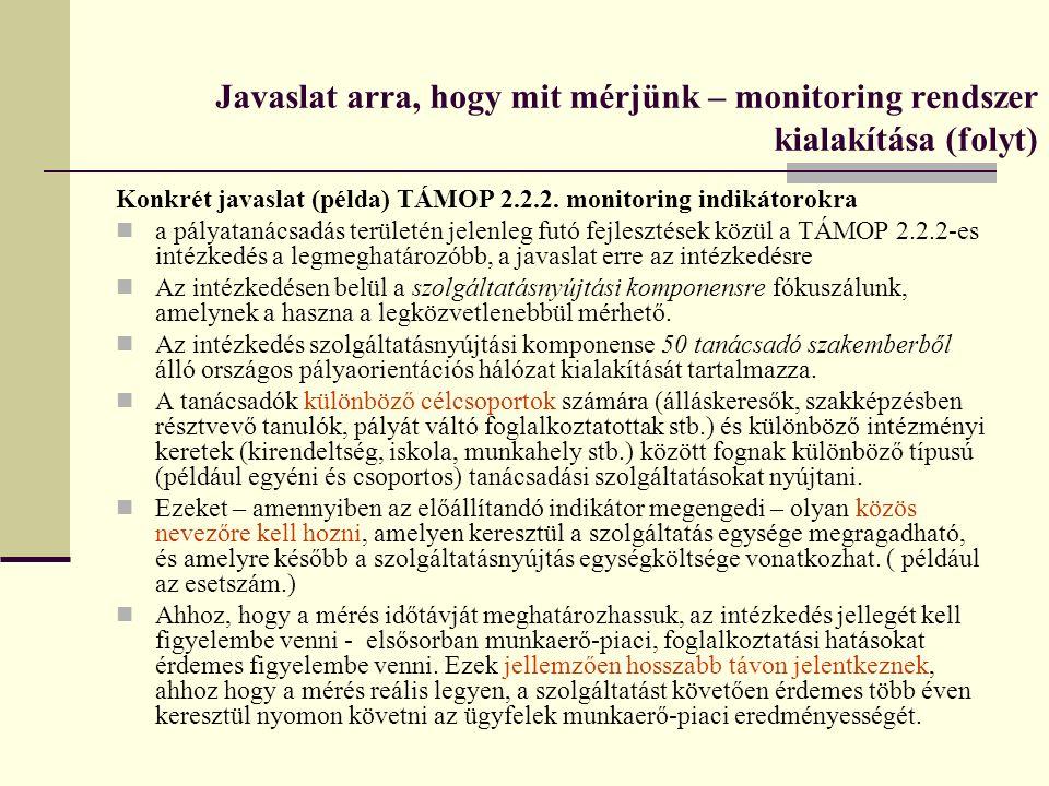 Konkrét javaslat (példa) TÁMOP 2.2.2. monitoring indikátorokra a pályatanácsadás területén jelenleg futó fejlesztések közül a TÁMOP 2.2.2-es intézkedé