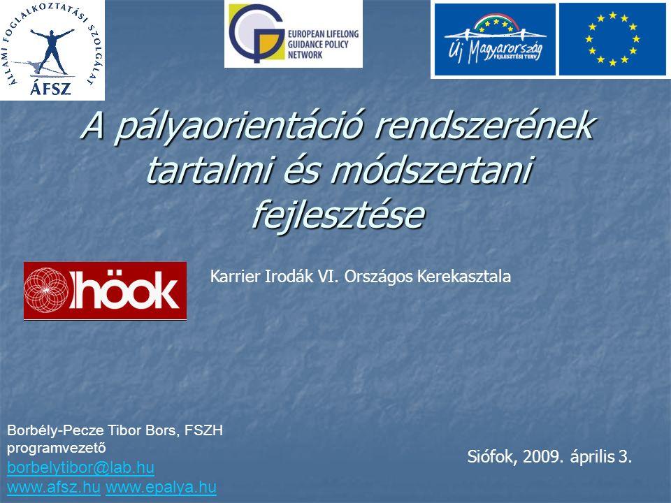 A pályaorientáció rendszerének tartalmi és módszertani fejlesztése Borbély-Pecze Tibor Bors, FSZH programvezető borbelytibor@lab.hu www.afsz.huwww.afsz.hu www.epalya.huwww.epalya.hu Siófok, 2009.