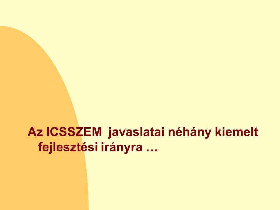 Az ICSSZEM javaslatai néhány kiemelt fejlesztési irányra …