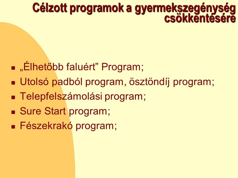 """Célzott programok a gyermekszegénység csökkentésére """"Élhetőbb faluért Program; Utolsó padból program, ösztöndíj program; Telepfelszámolási program; Sure Start program; Fészekrakó program;"""