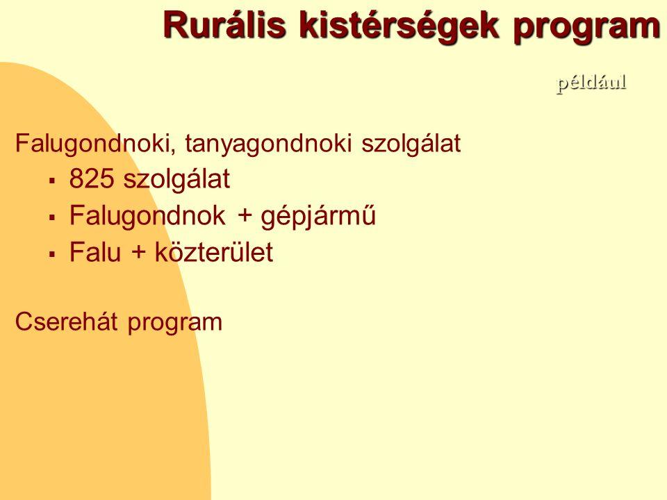 Rurális kistérségek program Falugondnoki, tanyagondnoki szolgálat  825 szolgálat  Falugondnok + gépjármű  Falu + közterület Cserehát program például