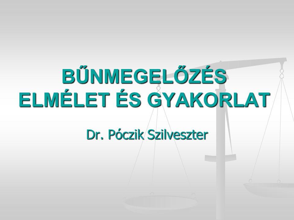 BŰNMEGELŐZÉS ELMÉLET ÉS GYAKORLAT Dr. Póczik Szilveszter