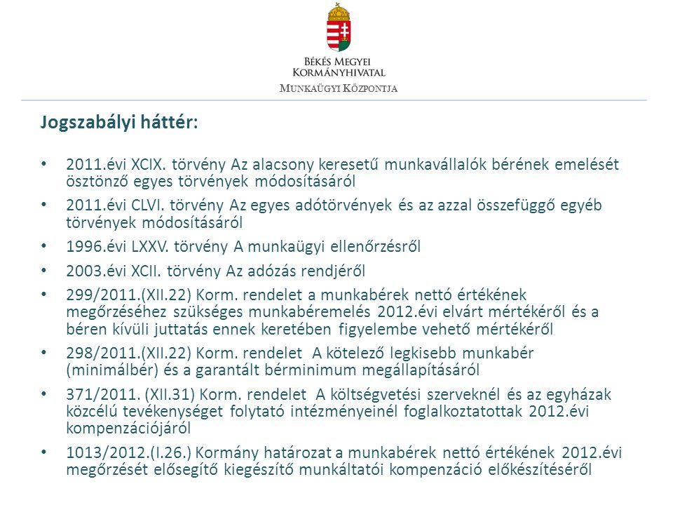 Jogszabályi háttér: 2011.évi XCIX.