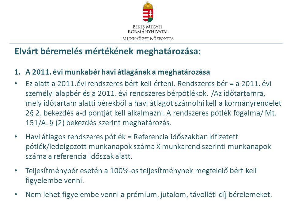 Elvárt béremelés mértékének meghatározása: 2.2012.évi bér meghatározása A 2011.