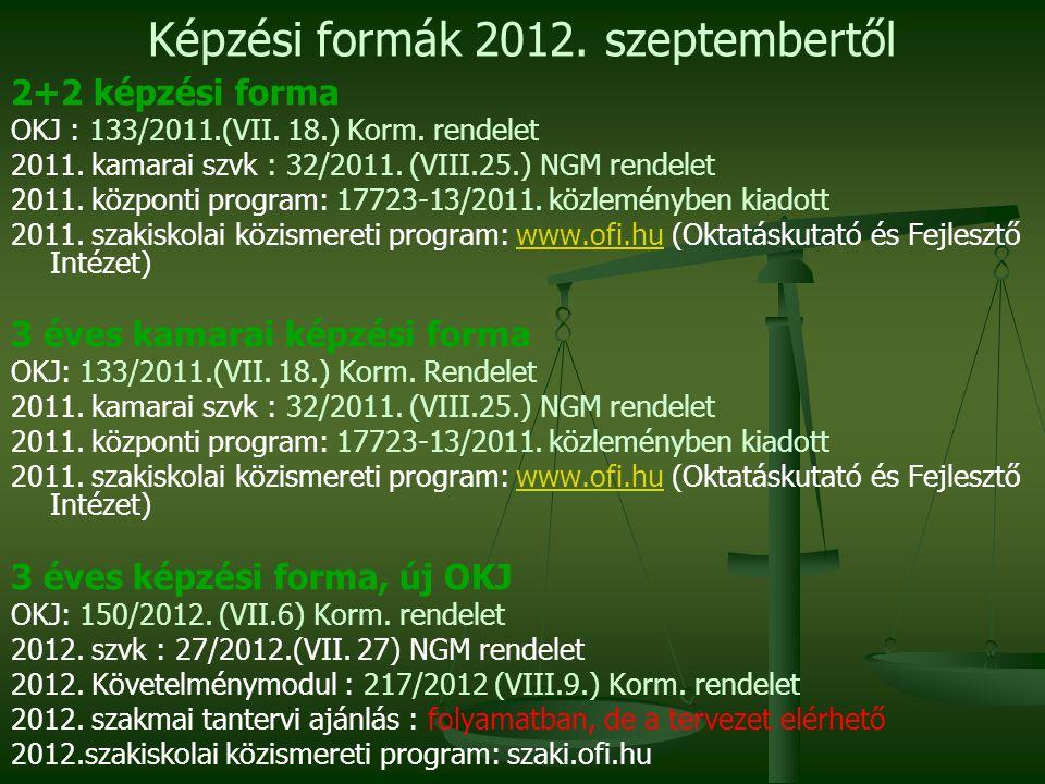 Képzési formák 2012. szeptembertől 2+2 képzési forma OKJ : 133/2011.(VII.