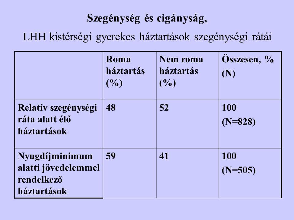 Szegénység és cigányság, LHH kistérségi gyerekes háztartások szegénységi rátái Roma háztartás (%) Nem roma háztartás (%) Összesen, % (N) Relatív szegénységi ráta alatt élő háztartások 4852100 (N=828) Nyugdíjminimum alatti jövedelemmel rendelkező háztartások 5941100 (N=505)