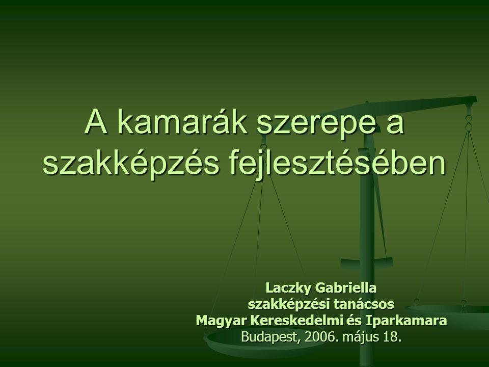 A kamarák szerepe a szakképzés fejlesztésében Laczky Gabriella szakképzési tanácsos Magyar Kereskedelmi és Iparkamara Budapest, 2006. május 18.