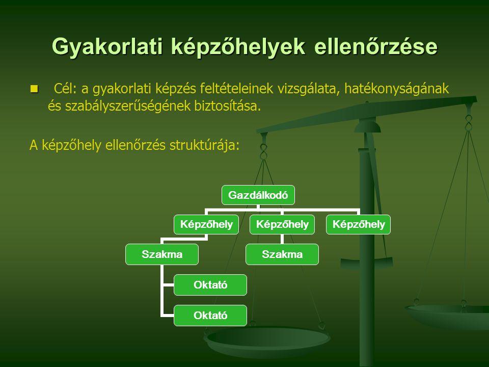 Gyakorlati képzőhelyek ellenőrzése Cél: a gyakorlati képzés feltételeinek vizsgálata, hatékonyságának és szabályszerűségének biztosítása. A képzőhely