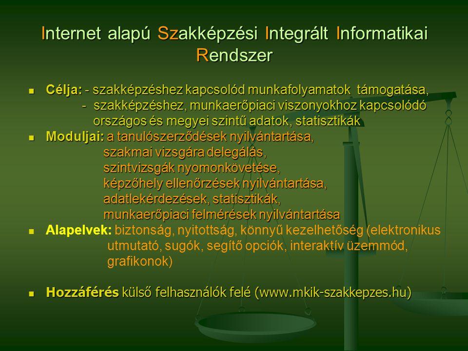 Internet alapú Szakképzési Integrált Informatikai Rendszer Célja: - szakképzéshez kapcsolód munkafolyamatok támogatása, Célja: - szakképzéshez kapcsolód munkafolyamatok támogatása, - szakképzéshez, munkaerőpiaci viszonyokhoz kapcsolódó - szakképzéshez, munkaerőpiaci viszonyokhoz kapcsolódó országos és megyei szintű adatok, statisztikák országos és megyei szintű adatok, statisztikák Moduljai: a tanulószerződések nyilvántartása, Moduljai: a tanulószerződések nyilvántartása, szakmai vizsgára delegálás, szakmai vizsgára delegálás, szintvizsgák nyomonkövetése, szintvizsgák nyomonkövetése, képzőhely ellenőrzések nyilvántartása, képzőhely ellenőrzések nyilvántartása, adatlekérdezések, statisztikák, adatlekérdezések, statisztikák, munkaerőpiaci felmérések nyilvántartása munkaerőpiaci felmérések nyilvántartása Alapelvek: biztonság, nyitottság, könnyű kezelhetőség (elektronikus utmutató, sugók, segítő opciók, interaktív üzemmód, grafikonok) Hozzáférés külső felhasználók felé (www.mkik-szakkepzes.hu) Hozzáférés külső felhasználók felé (www.mkik-szakkepzes.hu)