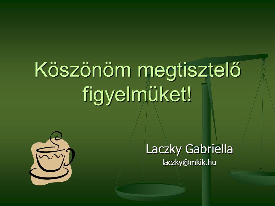 Köszönöm megtisztelő figyelmüket! Laczky Gabriella laczky@mkik.hu
