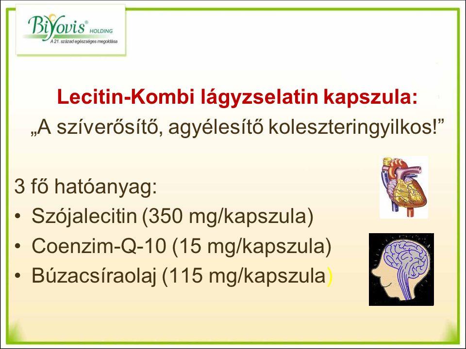 """Lecitin-Kombi lágyzselatin kapszula: """"A szíverősítő, agyélesítő koleszteringyilkos! 3 fő hatóanyag: Szójalecitin (350 mg/kapszula) Coenzim-Q-10 (15 mg/kapszula) Búzacsíraolaj (115 mg/kapszula)"""