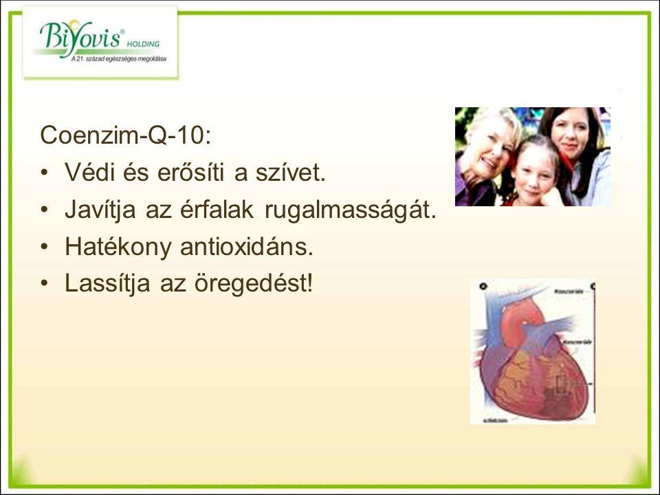 Coenzim-Q-10: Védi és erősíti a szívet. Javítja az érfalak rugalmasságát.