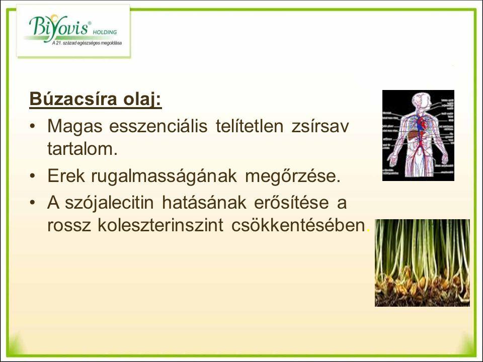 Búzacsíra olaj: Magas esszenciális telítetlen zsírsav tartalom.