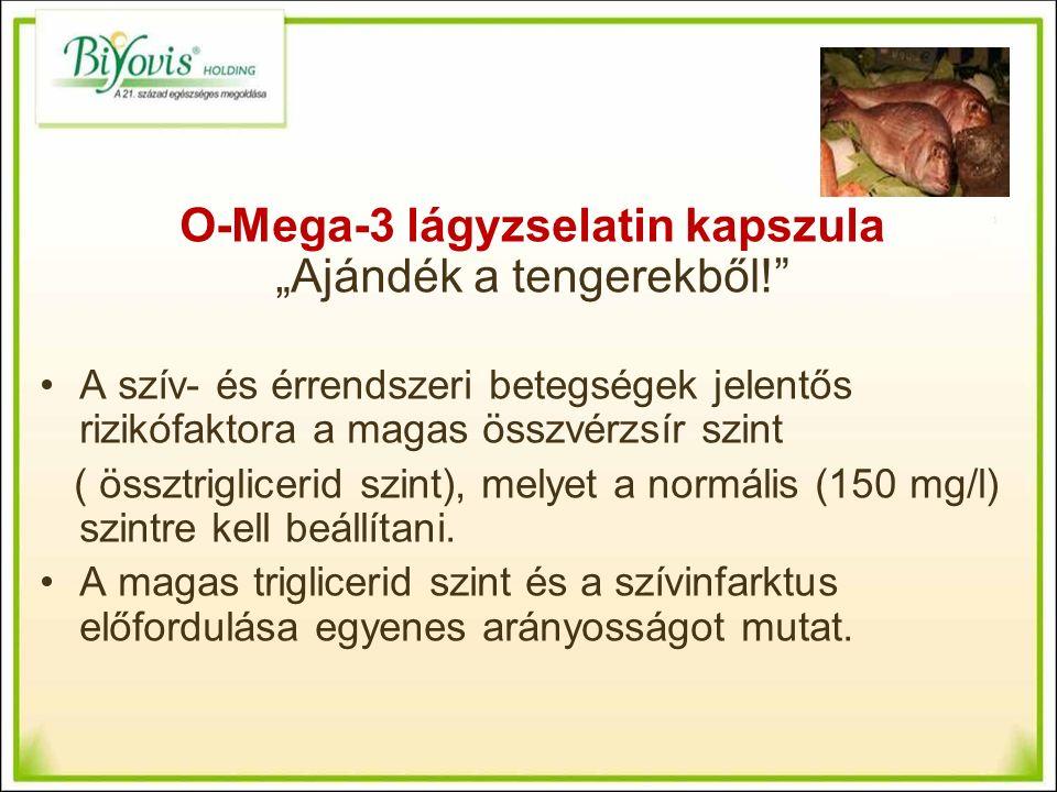 """O-Mega-3 lágyzselatin kapszula """"Ajándék a tengerekből! A szív- és érrendszeri betegségek jelentős rizikófaktora a magas összvérzsír szint ( össztriglicerid szint), melyet a normális (150 mg/l) szintre kell beállítani."""